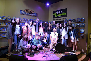 A group of MC international students at the Blue plate concert in Knoxville