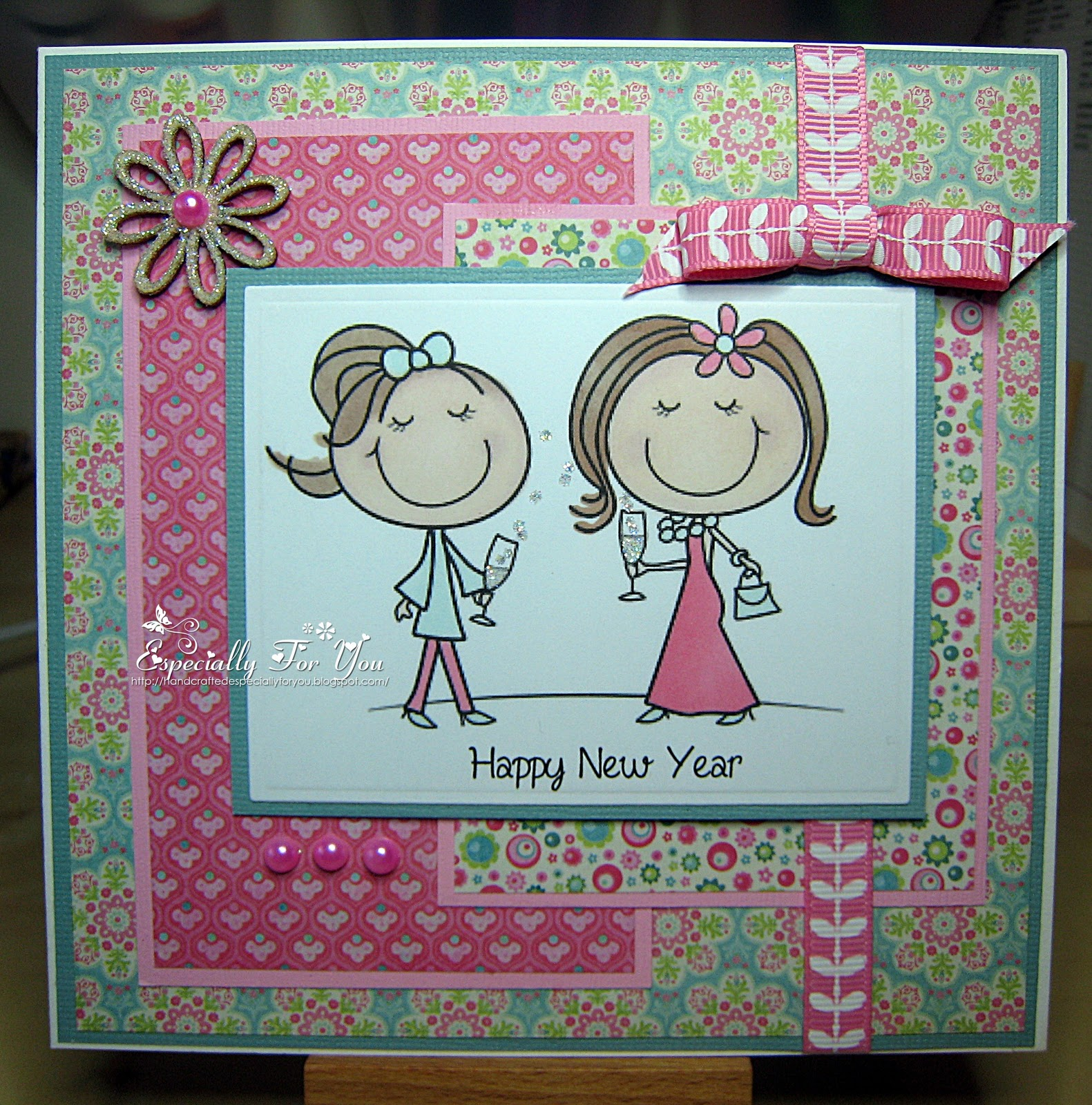 i love this digistamp boutique image and thought it would be perfect for a cute girly happy new year card it reminds me of my cousin and i and our