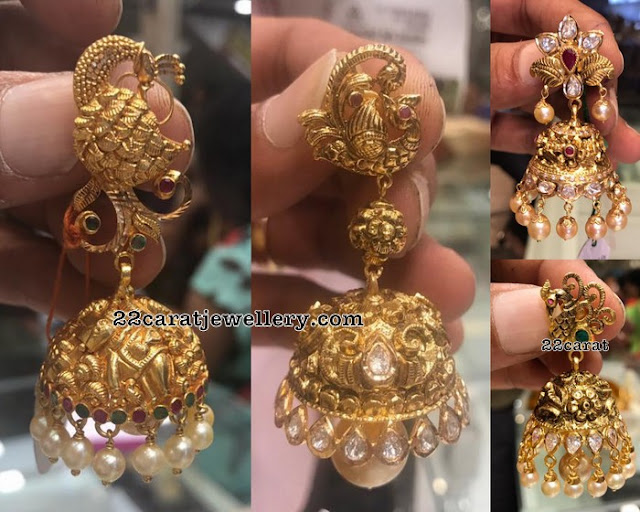 Antique Jhumkas by Premraj Jewellers