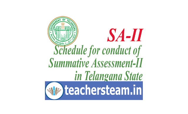 Revised Summative Assesment-II (SA-II) exams schedule for classes I to IX in Telangana for the academic year 2018-19