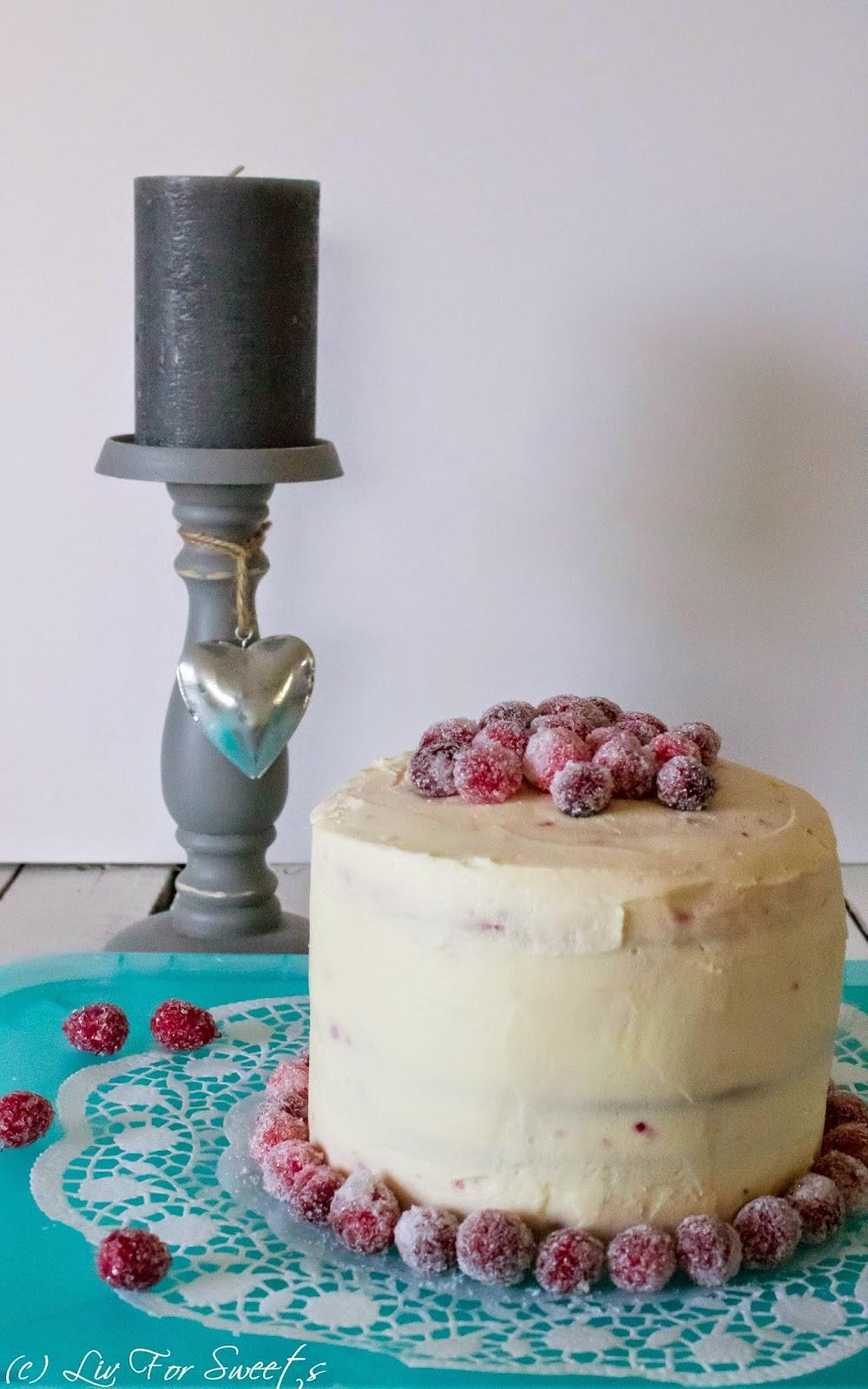 Cranberry-Zitronen-Torte mit gezuckerten Cranberryies und Cranberrykonfitüre, Wilton Easy Layer Cake Set, Rezept auch für den Thermomix