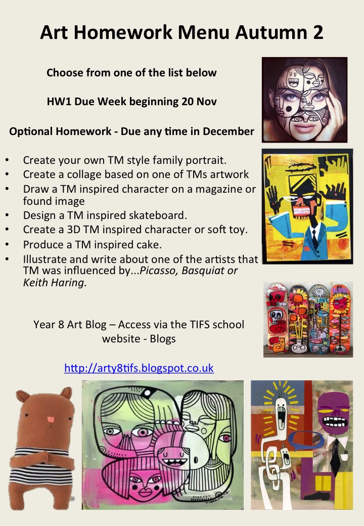 Y8 Art & Design Blog : Y8 ART Homework for Autumn - Choose