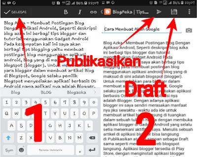 Publikasikan artikel atau menyimpan sebagai draft