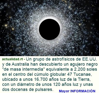Descubren un nuevo tipo de agujero negro 'intermedio' con una masa equivalente a 2.200 soles