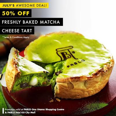 Pablo Cheesetart Malaysia Matcha Cheese Tart Half Price Discount Promo