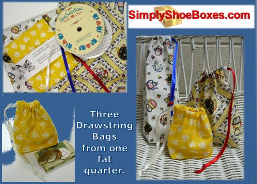 Drawstring bags from fat quarters.