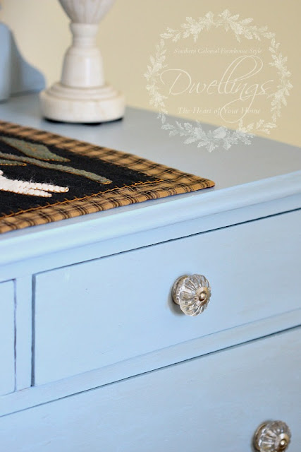 Annie Sloan Louis Blue and crystal knobs...she looks so pretty now!
