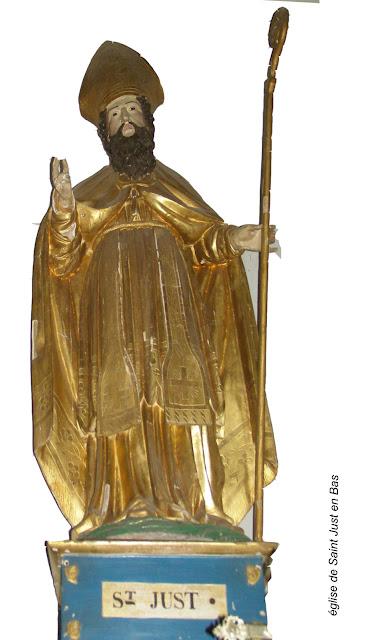 statue de saint Just - église de saint-Just-en-Bas /©photo F. Défrade