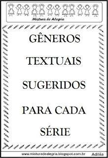 Gêneros textuais sugeridos para cada série