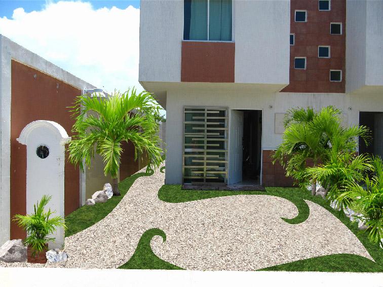 Jard n creativo con pasto gravilla y bamb dise os para patio pasillo y frente de la casa - Diseno de jardines 3d ...