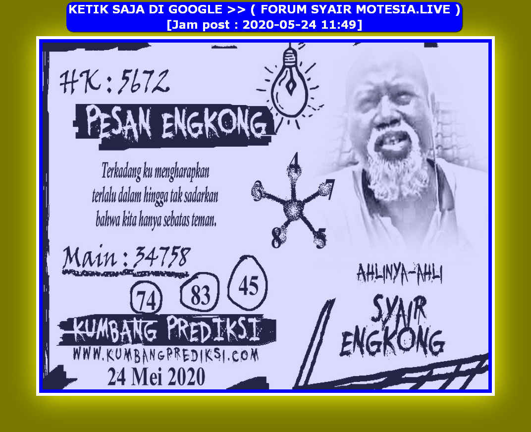Kode syair Hongkong Minggu 24 Mei 2020 227
