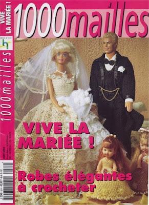 vestido de noiva de crochê para Barbie com gráficos