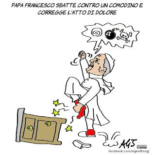papa francesco, preghiere, umorismo,  atto di dolore, vignetta, satira