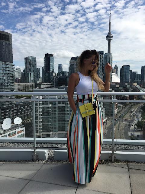 Maxi skirt, striped skirt, summer trend skirt, Toronto Skyline, Toronto blogger, summers style, how to wear maxi skirt, sta obuci za leto, canadian blogger