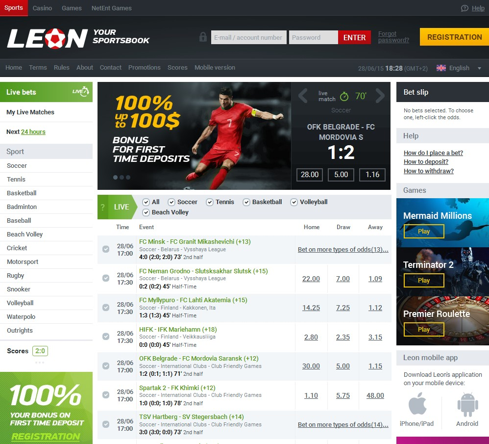 Leonbets Sportsbook Screenshot