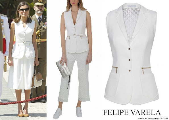 Queen Letizia wore Felipe Varela Army vest jacket