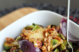 Crispy Roasted Brussel Sprouts with Maple Pecan Dressing
