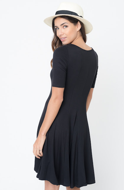 Buy Now black Paneled Flared Dress Online $34 -@caralase.com