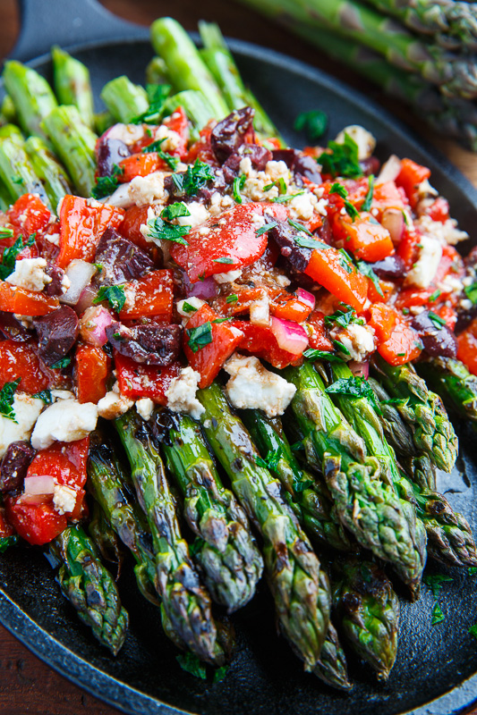 Grilled Asparagus with Marinated Roasted Red Peppers, Feta and Kalamata Olives Recipe