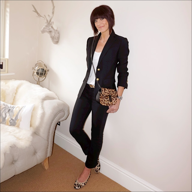 My Midlife Fashion, j crew rhodes blazer, zara tank top, leopard print across body bag, leopard print calf hair belt, french connection rebound cropped kick flare trousers, french sole henriette leopard print ballerina pumps