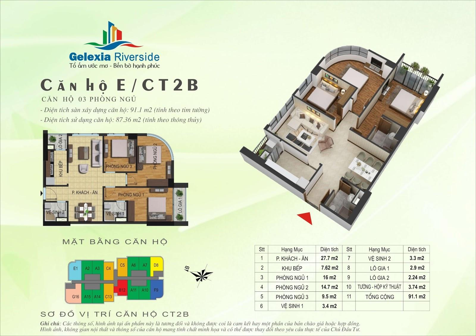 Mặt bằng căn hộ 91,1 m2 tòa CT2B - Gelexia Riverside