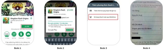 thanh toán Google Play bằng sim Mobifone