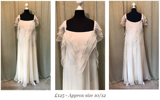 1970's bohemian floaty layered boho vintage wedding dress woodland available at vintage lane bridal boutique in bolton , manchester, lancashire