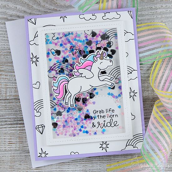 Unicorn Card by Juliana Michaels | Believe in Unicorns Stamp Set & Sky Borders Die set by Newton's Nook Designs #newtonsnook