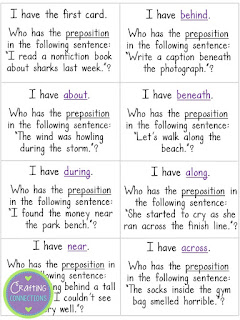 Prepositions Game... FREE!  Plus, this blog post contains links to 5 other free printable grammar games!
