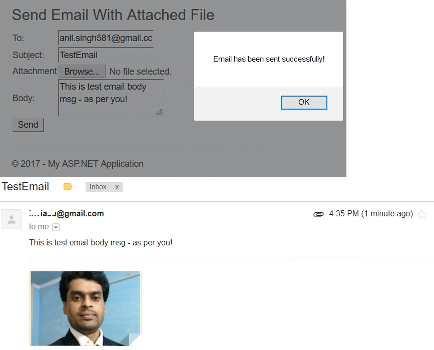How Send Email with Attached file in ASP NET MVC 5