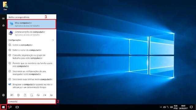 """1 - Clique no botão iniciar do Windows. 2 - Na caixa de pesquisa digite computador. 3 - No resultado que aparecer escrito """"Meu Computador"""" clique em cima."""