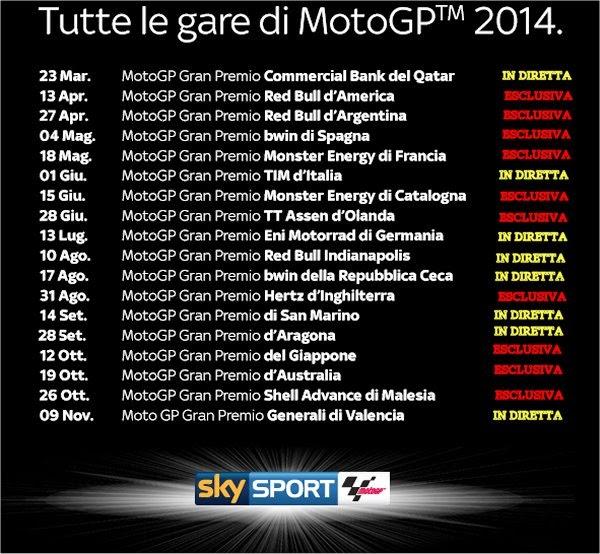 Motogp Calendario Cielo.Motogp 2014 Su Cielo Ecco Le Gare Trasmesse In Chiaro