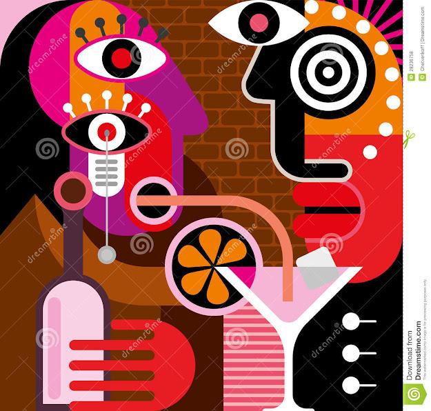 Man And Woman At The Bar  Vector Illustration