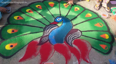 Colorful Peacock Rangolis