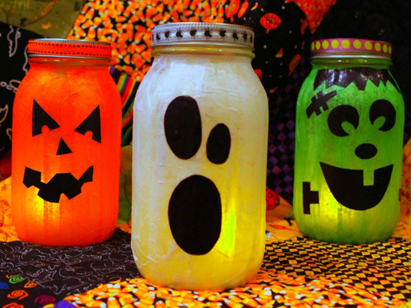 Homemade mason jar lanterns are spooky fun