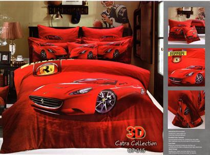 Sprei Satin Jepang Motif Ferrari Merah