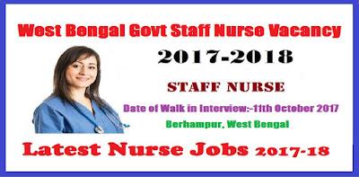 Latest West Bengal Govt Staff Nurse Vacancy 2017 – 2018