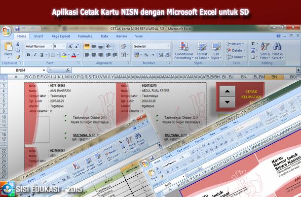 Aplikasi Cetak Kartu NISN dengan Microsoft Excel untuk SD