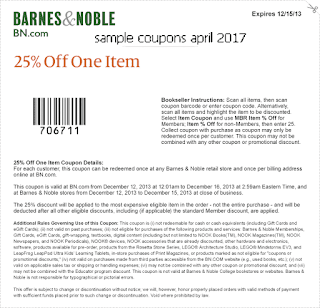 free Barnes and Noble coupons april 2017