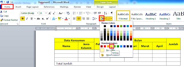 Cara Modifikasi Tabel dan Pembelajara Lanjutan Tabel Ms Office Word 2010