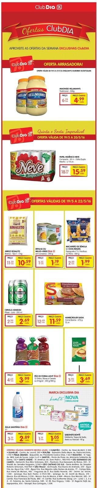Ofertas ClubDIA Supermercados %Dia, 19 à 22/5