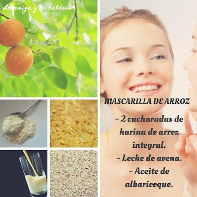 Ingredientes para la mascarilla de arroz