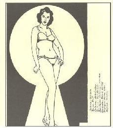 ilustração de mulher nua vista pela fenda de uma fechadura
