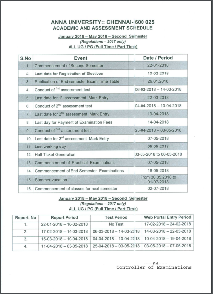 ANNA UNIVERSITY Assessment Schedule (2nd SEMESTER) for FIRST