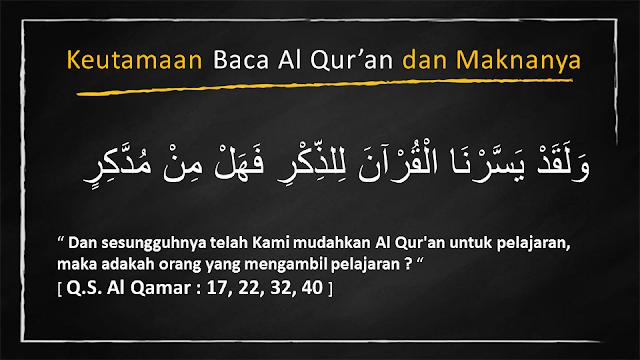 Beberapa keutamaan Baca Al Qur'an dan Maknanya