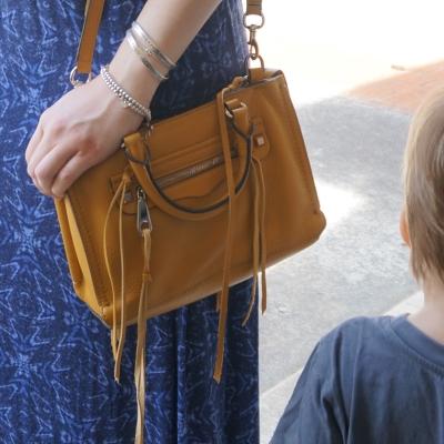 blue dress, Rebecca Minkoff micro Regan satchel in Harvest Gold   Away From Blue