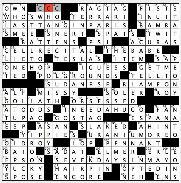 Rex Parker Does The Nyt Crossword Puzzle 1 20 Of A Ton Abbr Sun 12 31 17 County In New Mexico Colorado Three Foot 1980s Sitcom Character Hip Hop S Shakur Film Director