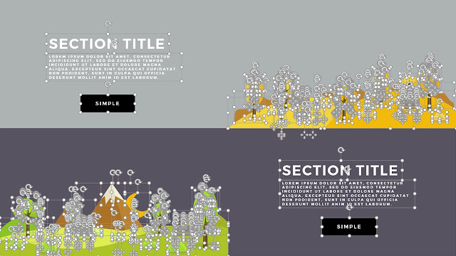 Flat Design Mountains Section Title PowerPoint Template Slide with Fully Editable