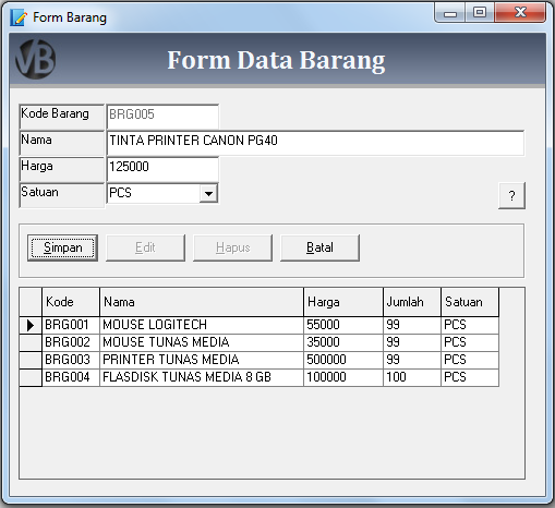Membuat Form Barang VB 6.0 - Belajar VB