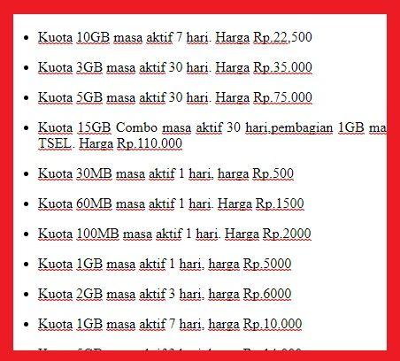 Pengguna Internet sudah dipastikan mencari harga paket internet murah bulanan Harga Paket Internet Telkomsel Murah 10GB hanya 22500